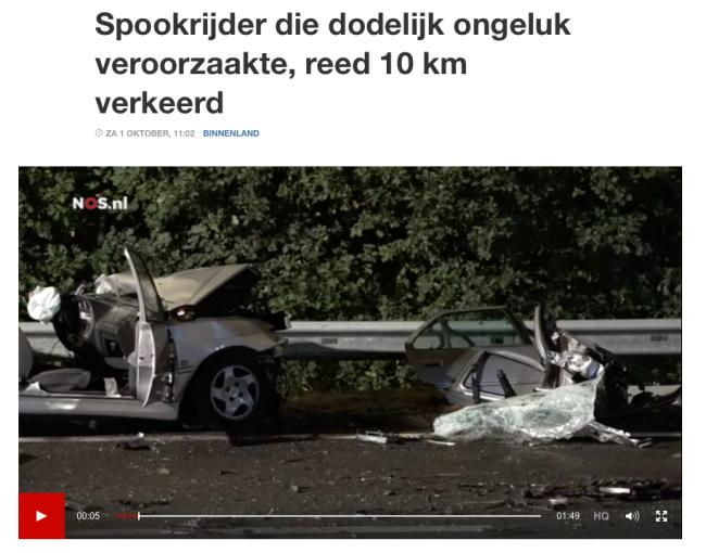 Spookrijder op de A2 veroorzaakt dodelijk incident
